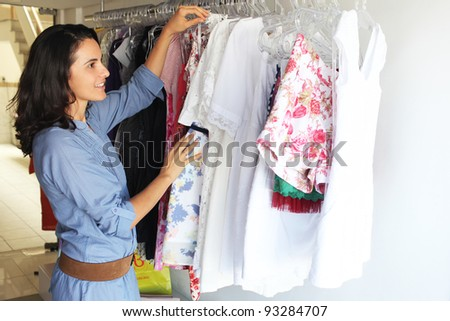 Woman shopping in a small store