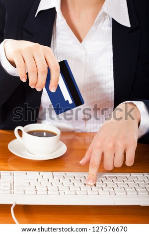 Woman shopping over internet,