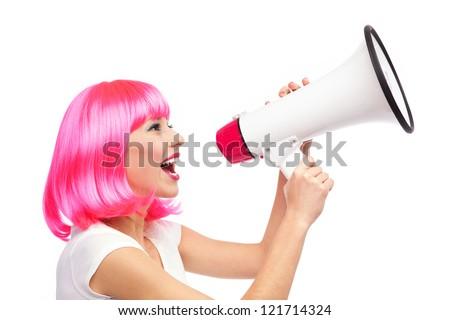 Woman shouting through megaphone #121714324