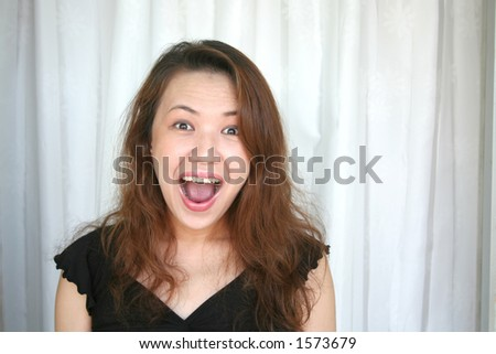 woman shouting with surprizing face expression