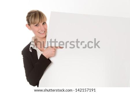 woman show blank signboard