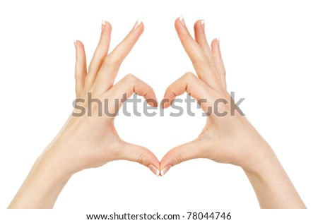 woman showing hands heart on a white background