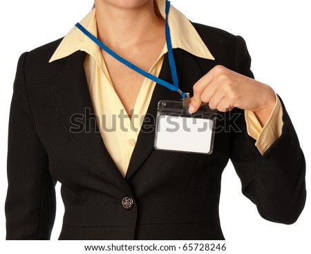 woman showing her id card at the entrance of meeting room