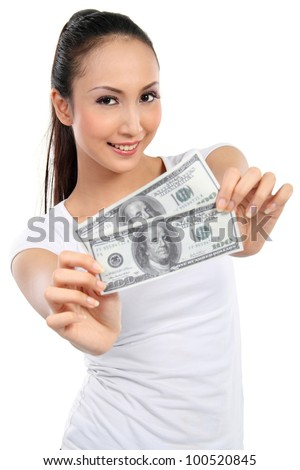 woman showing  money isolated on white background