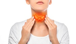 Woman showing painted thyroid gland on her neck. Enlarged butterfly-shaped thyroid gland, isolated on white background