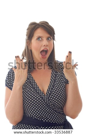 Woman showing surprise, isolated on white background.