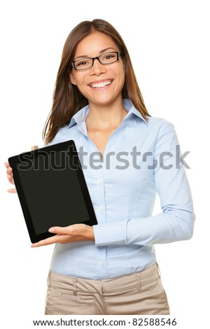 woman showing tablet computer screen smiling wearing glasses isolated on white background.