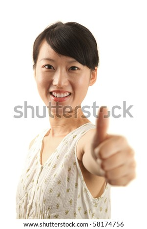 woman showing thumb up isolated on white background