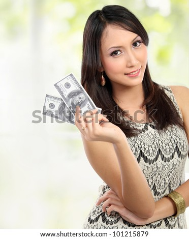 woman showing  100 us dollar money