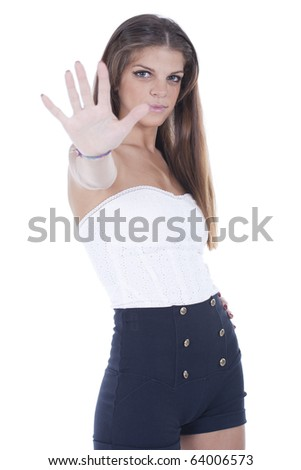 woman signaling stop sign , isolated on white background