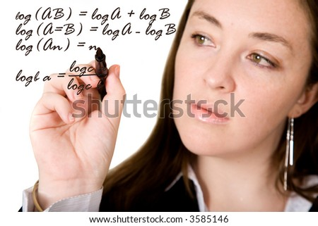 woman signing on the screen over a white background - focus is on the tip of the pen