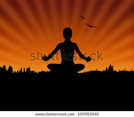 Woman Silhouette Doing Yoga