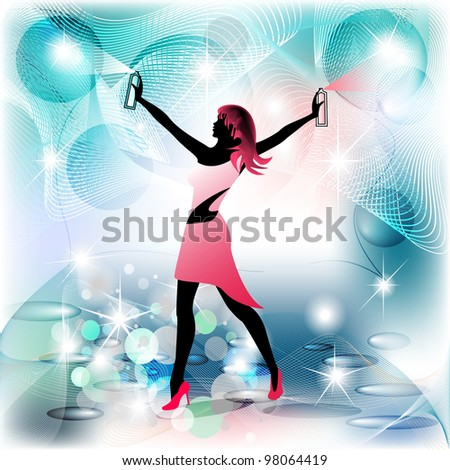 Woman silhouette housekeeper in spraying movement and clean background