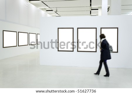 Woman silhouette in the museum interior