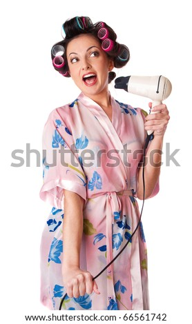 woman sings karaoke. Isolated at white