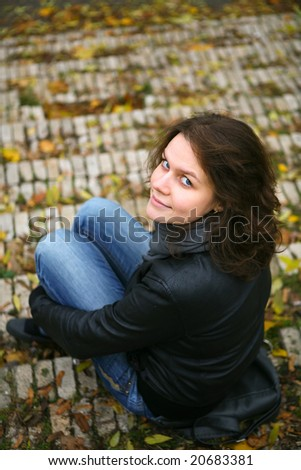 woman sit on the stairs
