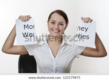 woman sitting at a desk with no money worries
