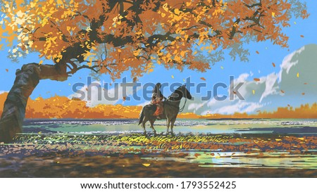 woman sitting on a horse under an autumn tree, digital art style, illustration painting