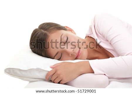 Woman sleeping isolated on white background.