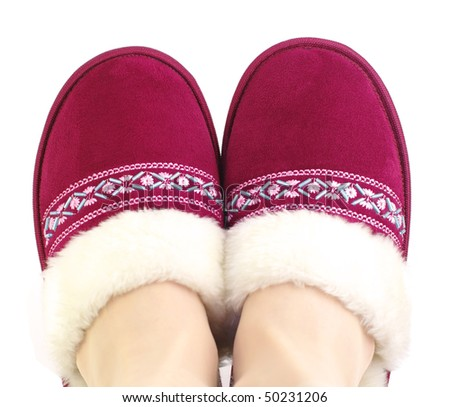 woman slippers furry and embroidery ornament on foots - stock photo