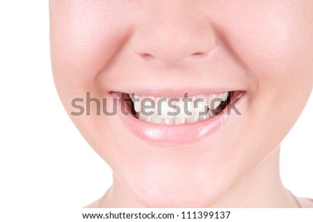 Woman smile. Teeth whitening. Dental care. closeup, isolates on white background