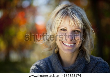 Woman smiling at the park