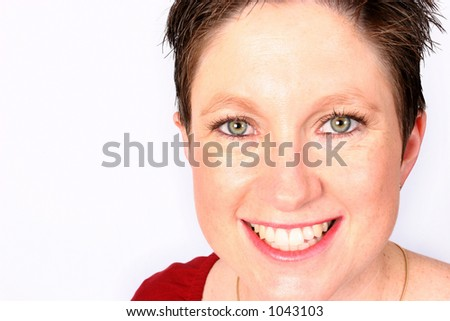 Woman smiling at you