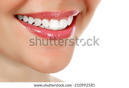 Woman smiling, white background, copyspace #210992581