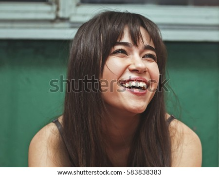 Woman smiling with perfect smile and white teeth #583838383