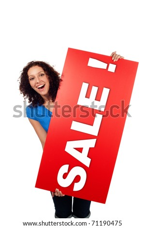Woman smiling with red sale sign billboard isolated on white background