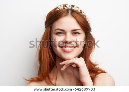 Woman smiling, woman smiling cute, attractive woman smiling and looking at camera, portrait
