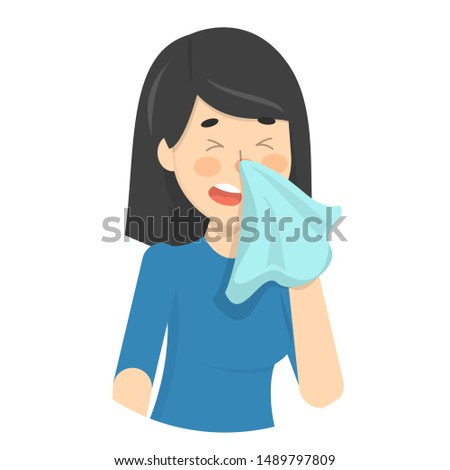 Woman sneeze. Ill girl in a fever. Flu or cold symptom. Idea of illness and healthcare. Flat illustration