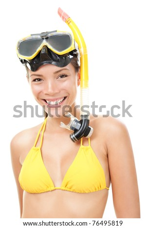 Woman snorkeler with goggles, flippers and snorkel smiling in summer bikini. Snorkeling, swimming, vacation concept isolated on white background. Chinese Asian / Caucasian female model - stock photo
