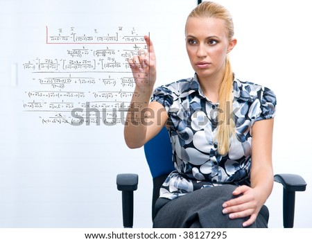 woman solving math problem