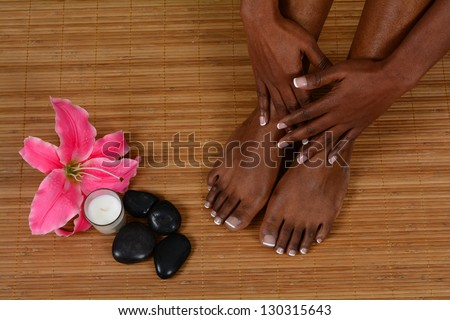 Woman spending the day at a spa - stock photo