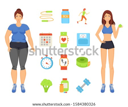 Woman sportive and fat lady. Isolated icons set with person transforming body, eating vegetables and fruits. Workouts and training exercises raster
