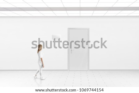 Woman stand near door with blank glass name plate mockup. Door sign mock up template on entry in cabinet. Office hall interior with nameplate on door. Clear closed door signage plate