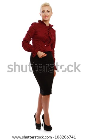 Woman standing in full length isolated on white background and pointing at something. - stock photo