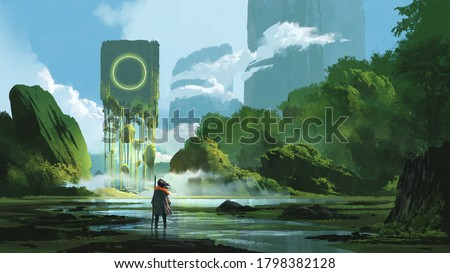 woman standing on creek looking at the mystery rock floating in midair, digital art style, illustration painting