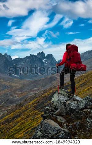 Woman Standing on Rocks looking at Scenic Mountain Peaks and Valley during Fall in Canadian Nature. Colorful Cloudy Sky Artistic Render. Landscape in Tombstone Territorial Park, Yukon, Canada. Photo stock ©