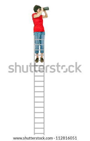 Woman standing on the ladder and looking into the distance with binoculars