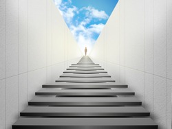 Woman standing on top of stairs and looking forward. Way to success