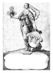 Woman standing with coat of arms with coat of arms of the Van Parijs van Zuidoort family and decorated helmet.