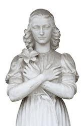 Woman statue isolated on white background. Clipping path included.
