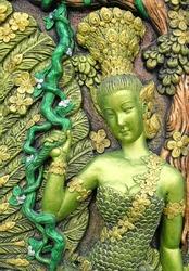 woman statue thai art in thai temple