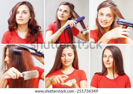 woman straightening her hair - tutorial by beauty blogger