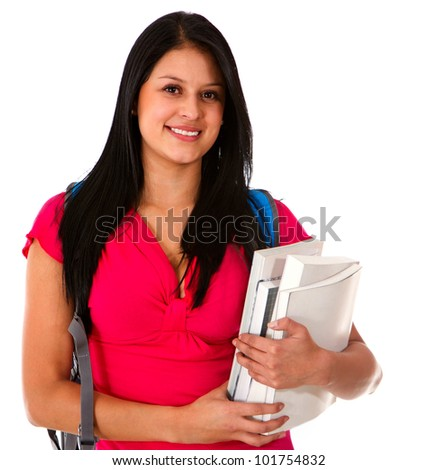Woman studying and carrying notebooks - isolated over white