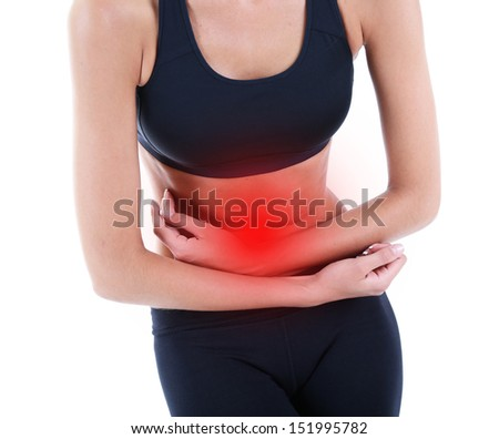 Woman suffering from abdominal pain isolated on white