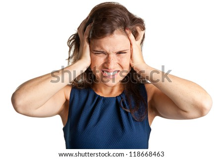 Woman suffering from an headache, holding her hands to the head
