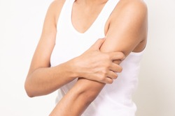 woman suffering from arm pain, painful in arm muscles.arm muscles isolated on white background.